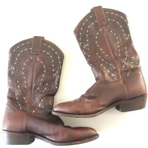 Frye Billy studded Short Cowboy Leather Boots 9